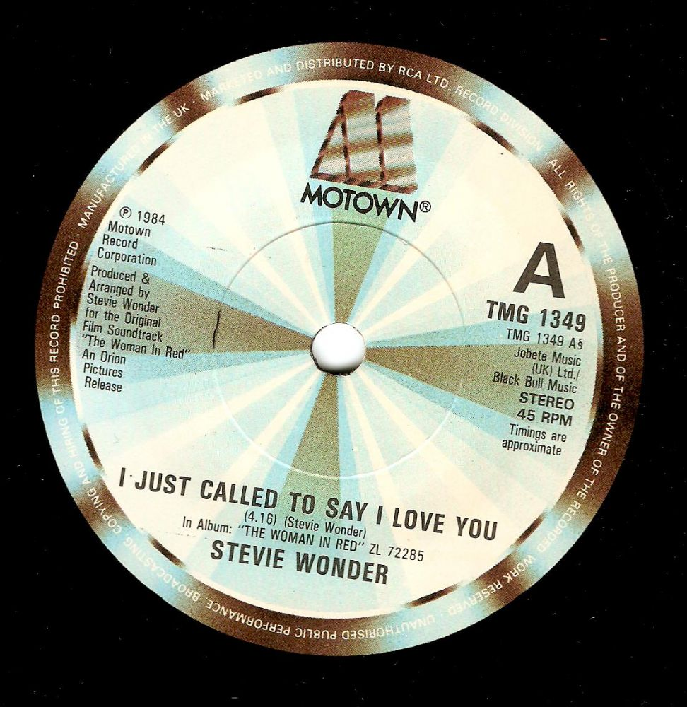 STEVIE WONDER I Just Called To Say I Love You Vinyl Record 7 Inch Motown 1984.